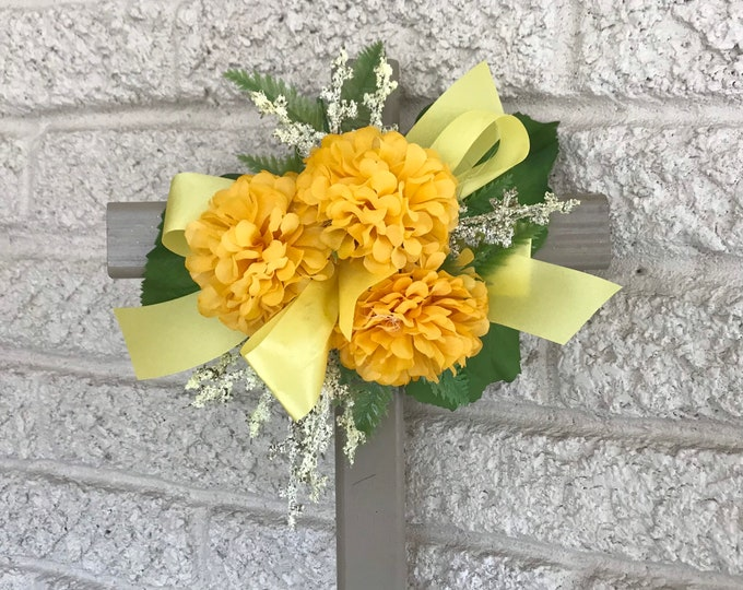 """Cemetery flowers , flowers for grave,  18"""" grave decoration, memorial cross, Cross for grave, cemetery cross."""