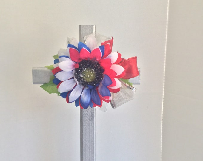 Patriotic Cemetery cross, grave memorial, ted white and blue grave decoration, memorial cross, Floral Memorial, grave marker, in memory of