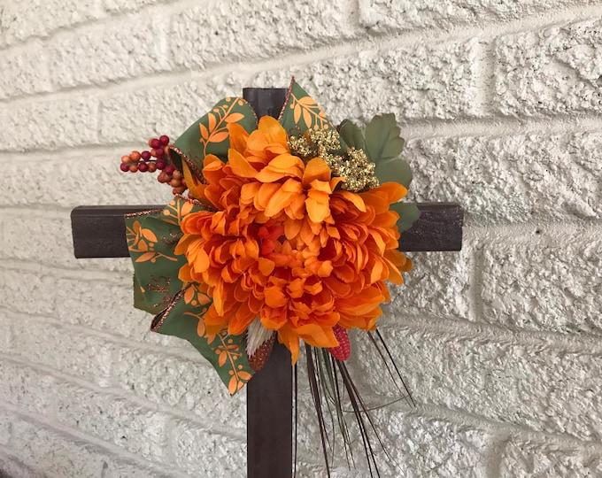 Fall Cemetery Cross , flowers for grave, autumn grave decoration, memorial cross, Cross for grave, cemetery cross.