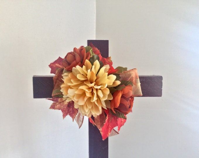 Fall Cemetery cross, autumn grave decoration, memorial cross, Floral Memorial, grave marker, in memory of, memorial flowers