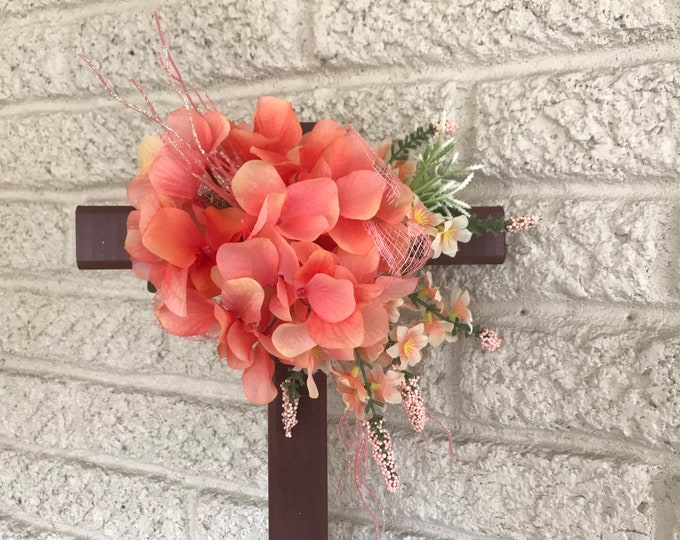 """18"""" Cemetery Cross with flowers , flowers for grave, grave decoration, memorial cross"""
