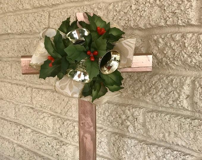 Christmas Cemetery Cross , flowers for grave, grave decoration, memorial cross, Cross for grave, cemetery cross.