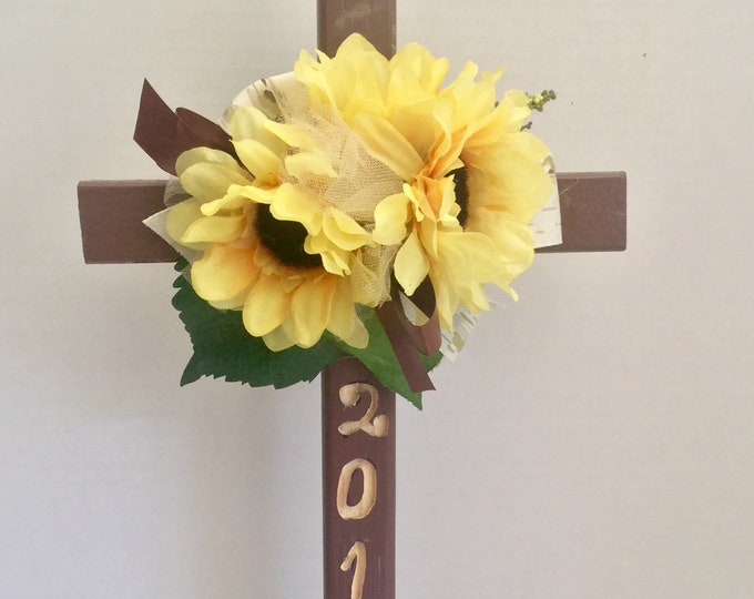 Engraved 2018 Cemetery cross, grave decoration, memorial cross, Floral Memorial, cemetery flowers, memorial cross, grave decoration