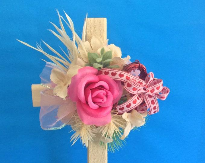 Valentine Cemetery cross, grave decoration, memorial cross, Floral Memorial, cemetery flowers, flowers for grave, memorial flowers