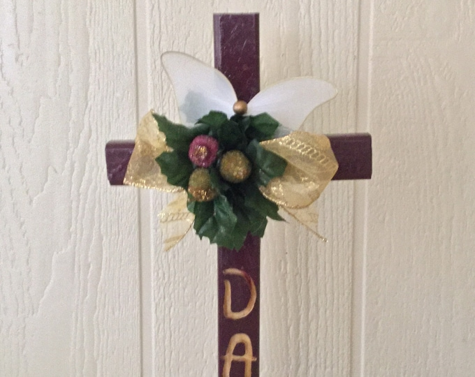 Dad Christmas - engraved cemetery - crosses - holiday grave - Floral Memorial - grave marker