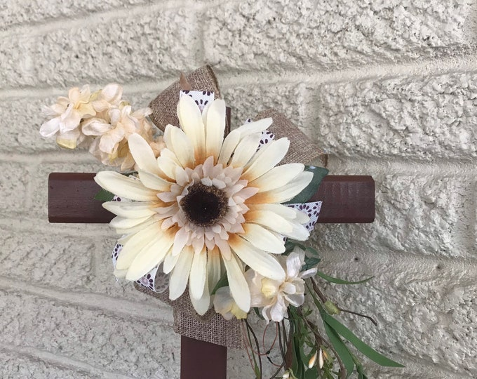 Cemetery Cross , flowers for grave, grave decoration, memorial cross