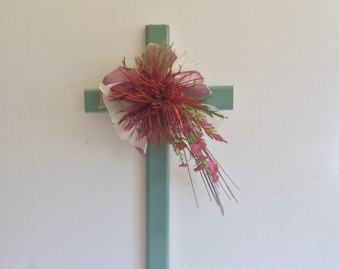 Cemetery cross, desert grave memorial, grave decoration, memorial cross, Floral Memorial, grave marker, in memory of