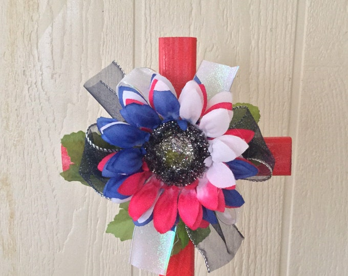 Year End Sale - Patriotic Cemetery - grave cross - memorial - red white and blue grave - memorial cross -  grave marker