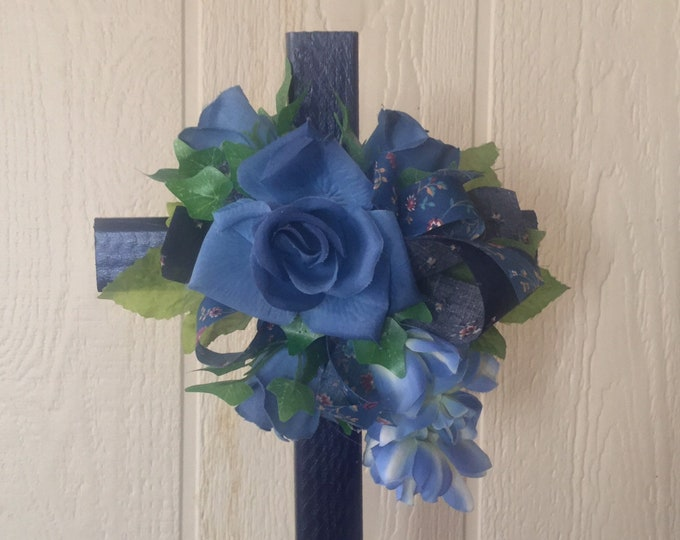 Cemetery flowers, flowers for grave, grave decoration, memorial cross, Cross for grave, cemetery cross, blue roses, in memory of