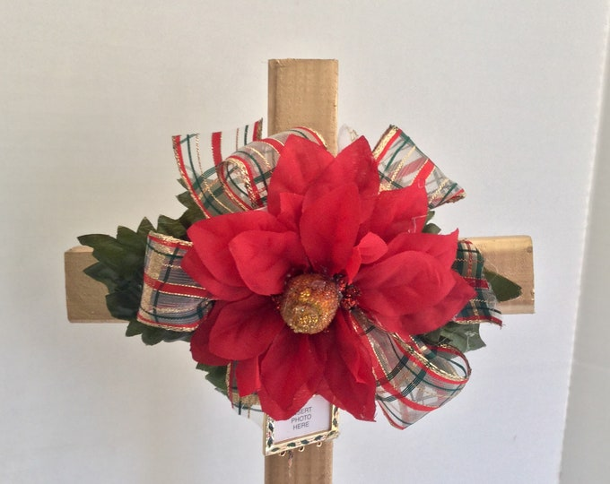 Christmas Cemetery flowers, flowers for grave, Christmas grave decoration, memorial cross, Cross for grave