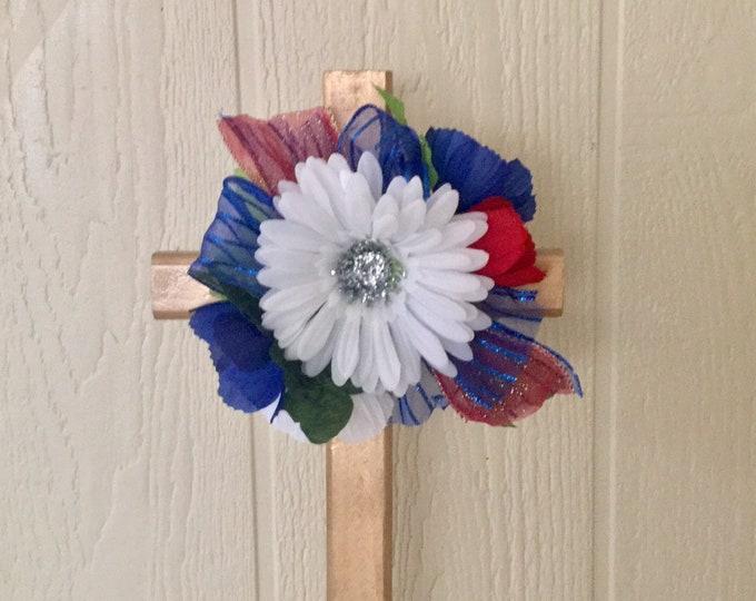 Patriotic Cemetery- grave memorial - red white and blue grave- memorial cross - cemetery flowers