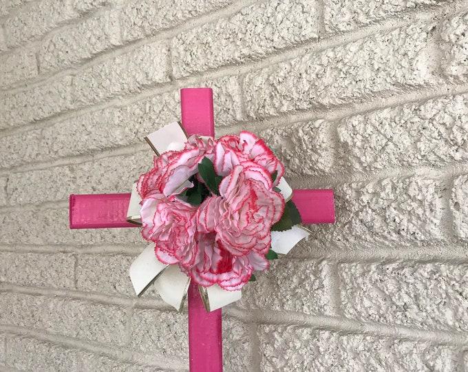 "Cemetery Cross with flower arrangement, memorial cross, flowers for cemetery, grave decoration, 24"" cross."