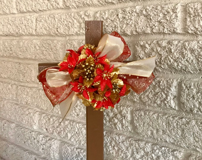 Christmas Cemetery Cross, flowers for grave, holiday grave decoration, memorial cross, Cross for grave, cemetery cross.