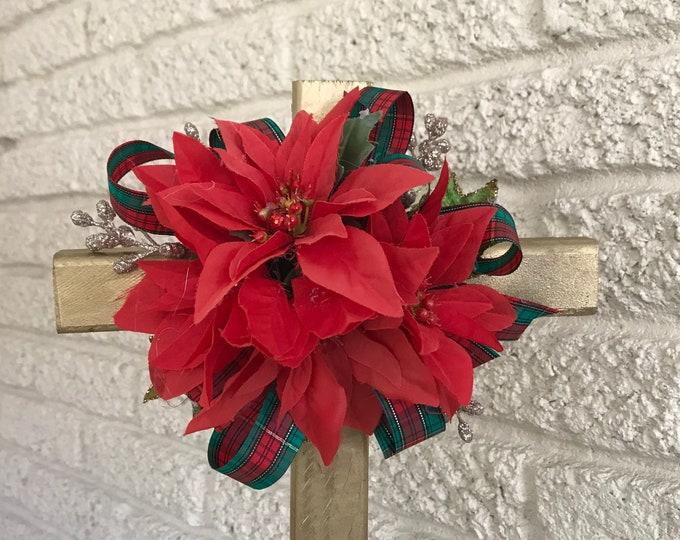 Christmas Cemetery Cross , flowers for grave, holiday grave decoration, memorial cross, Cross for grave, cemetery cross.