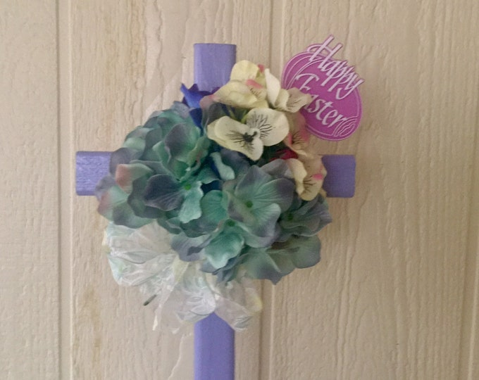 Easter Cemetery flowers, spring flowers for grave, grave decoration, memorial cross, Cross for grave.