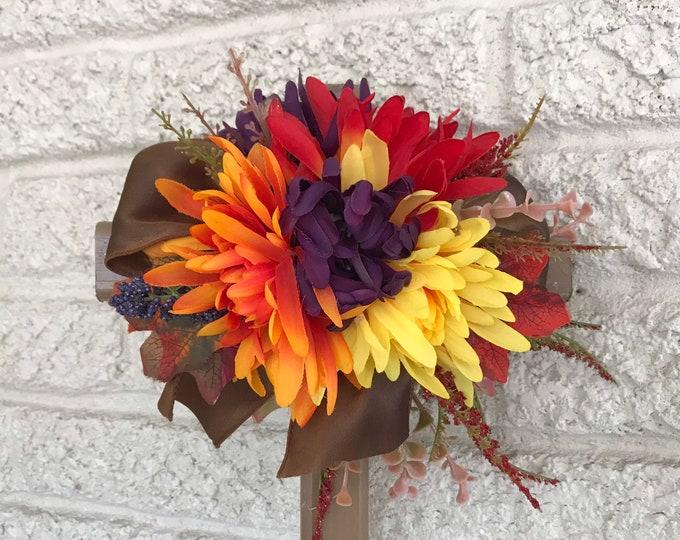 "Fall Cemetery flowers , flowers for grave,  18"" grave decoration, memorial cross, Cross for grave, cemetery cross."