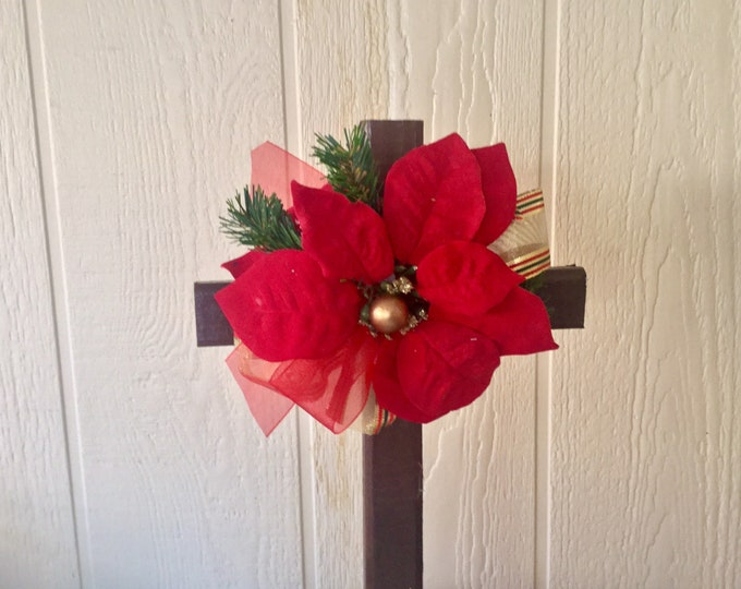 Christmas cemetery -  cross for grave - grave decoration - grave marker - cemetery and funeral