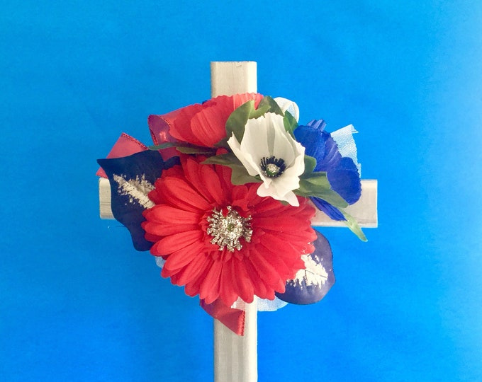 Patriotic Cemetery cross, grave memorial, red white and blue grave decoration, memorial cross, Floral Memorial, grave marker, in memory of