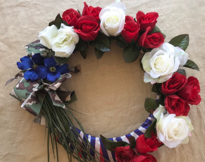 Cemetery Wreath for veteran , patriotic wreath with flower arrangement, memorial wreath, Memorial Day cemetery wreath.