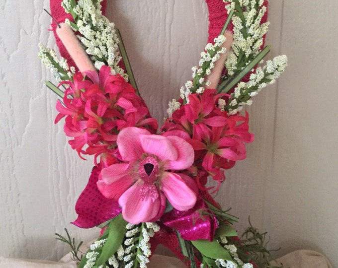 Year End Sale Pink Ribbon Grave Decoration, cemetery spray, gravesite flowers, pink ribbon flowers for grave.