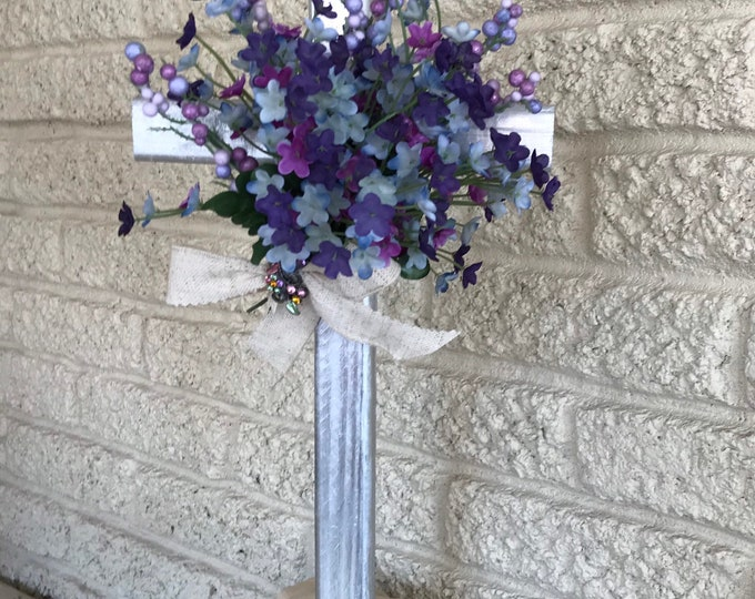 Grave cross, cemetery flowers, memorial marker, memorial cross for cemetery, floral memorial, purple grave flowers