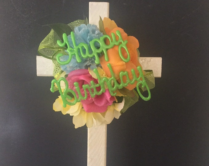 Happy Birthday Cemetery flowers, spring flowers for grave, grave decoration, memorial cross, Cross for grave, In memory of