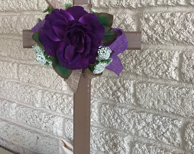 SALE Cemetery Cross , flowers, flowers for grave, grave decoration, memorial cross, Cross for grave, cemetery cross.