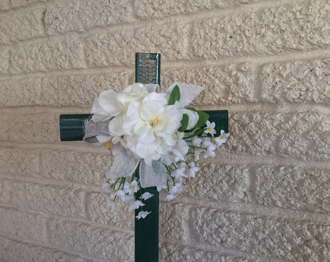 Cemetery cross, grave memorial, grave decoration, memorial cross, Floral Memorial, grave marker, in memory of