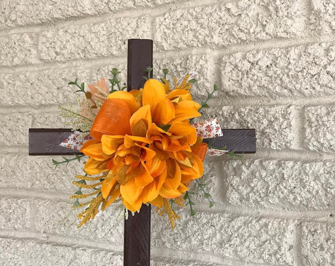 "NEW 20"" Memorial Crosses, Cemetery Decorations, Flowers for Grave, Floral Memorial"