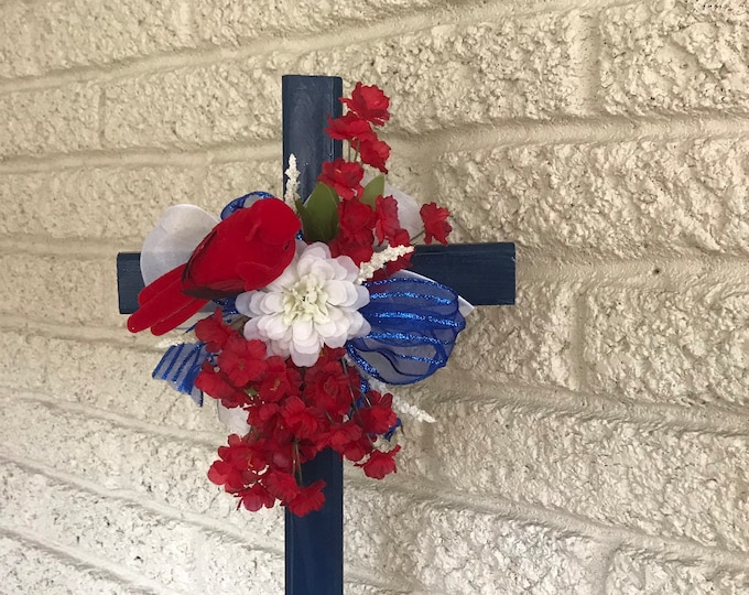 Pariotic, red-white-blue Cemetery Cross with flower arrangement, memorial cross, flowers for cemetery, grave decoration