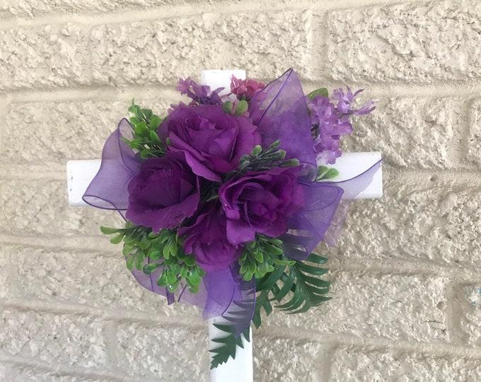 "Purple roses cemetery cross flowers for grave, grave decoration, 18"" cross for grave"