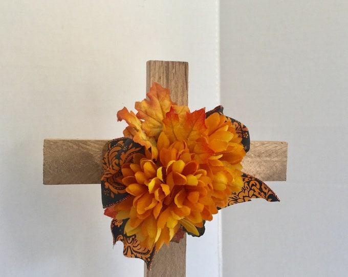 Fall Cemetery cross, grave decoration, autumn memorial cross, Floral Memorial, grave marker, in memory of, roadside memorial cross