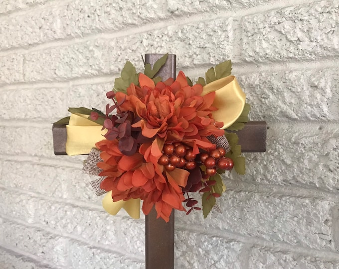 """Fall Cemetery , flowers for grave,  18"""" grave decoration, memorial cross, Cross for grave, cemetery cross."""