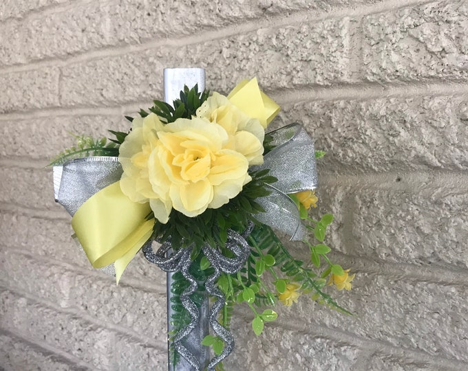 """Yellow roses cemetery flowers for grave, grave decoration, 18"""" cross for grave"""