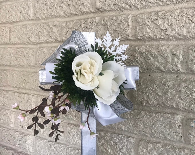 "White roses cemetery flowers for grave, grave decoration, 18"" cross for grave"