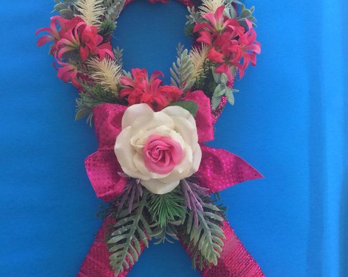 Pink Ribbon Grave Decoration, cemetery spray, gravesite flowers, pink ribbon flowers for grave.