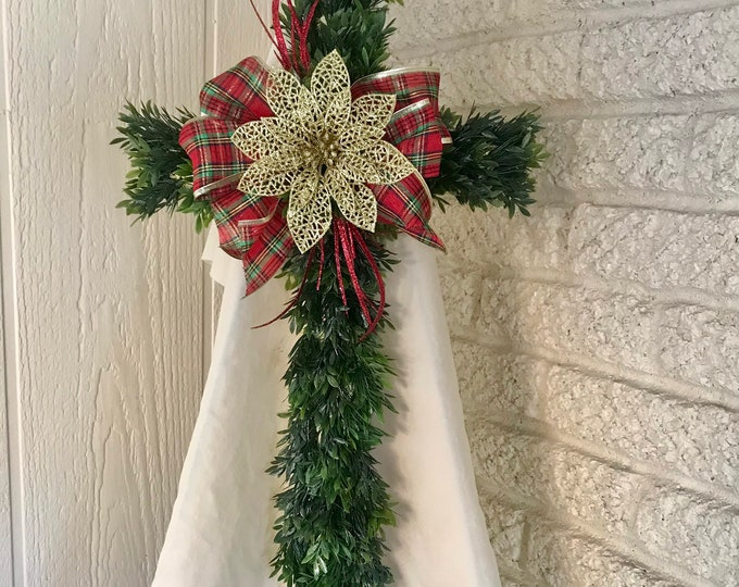 Christmas cross, Ground decoration, flat marker for cemetery, artificial greenery grave cross.