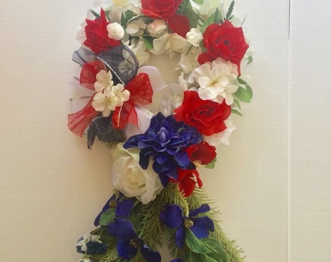 Patriotic memorial ribbon, grave decoration, memorial flowers, Floral Memorial, grave marker, in memory of, red white and blue