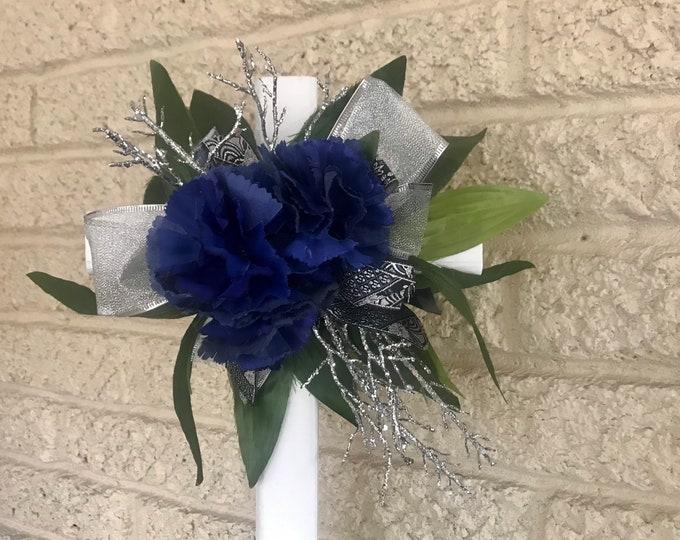 """Blue carnation cemetery cross, flowers for grave, grave decoration, 18"""" cross for grave"""