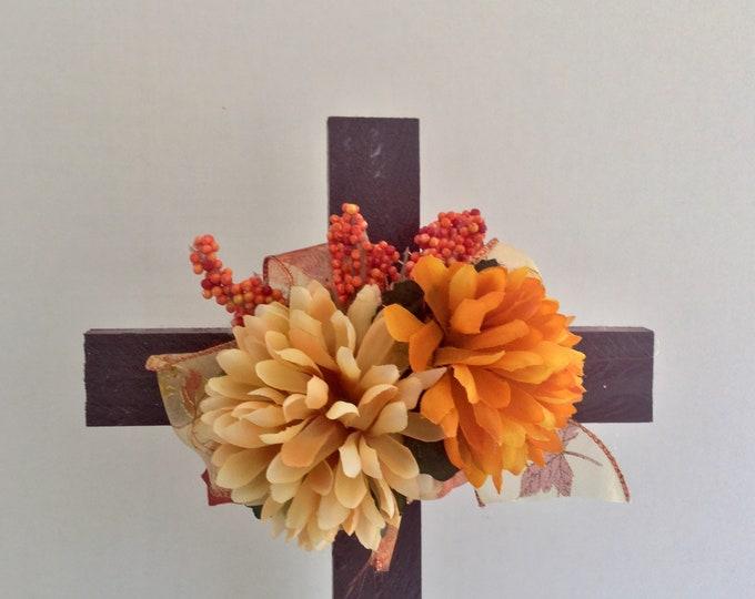 Fall Cemetery flowers, grave decoration, autumn memorial cross, Floral Memorial, grave marker, in memory of, roadside memorial cross