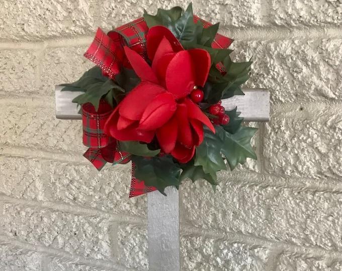 "Christmas Cemetery , 18"" Cross , flowers for grave, grave decoration, memorial cross"