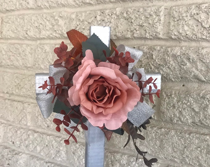 """Dusty pink roses cemetery flowers for grave, grave decoration, 18"""" cross for grave"""