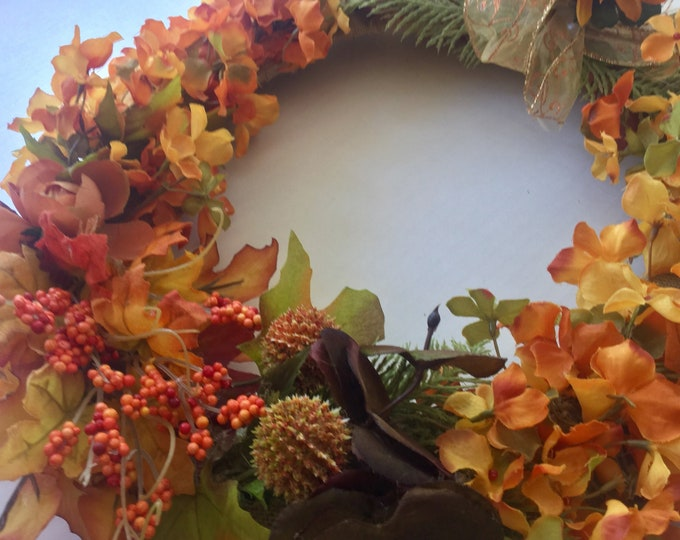 Fall Memorial wreath, fall grave decoration, autumn memorial flowers, Floral Memorial, grave marker, in memory of