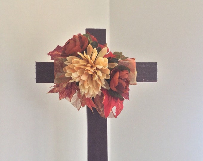 Fall Cemetery cross, autumn grave decoration, memorial cross, Floral Memorial, grave marker, in memory of, memorial flowers