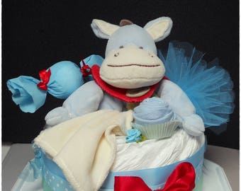 Little donkey delight 1 floor blue Nappy Cake diaper cake
