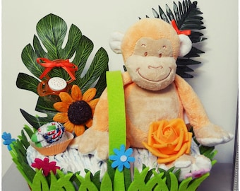 small floral basket diaper cake monkey orange Nappy Cake creations