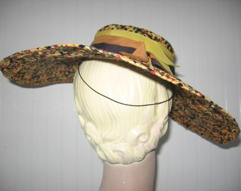 RESERVED / CLEARANCE / 1940's Wide Brim Multi-Color Cellophane Straw Hat!