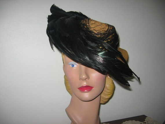 1930's-40's Straw Tilt Hat with Feathers! **AMAZIN