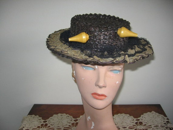 1940's Hat / Sailor / Navy Blue Straw / Ruffle / L