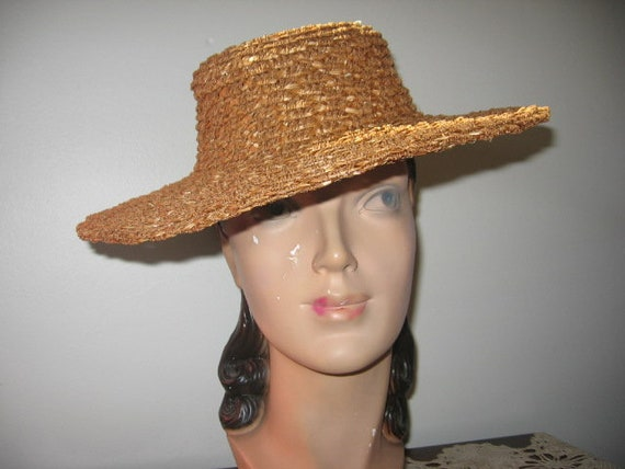 CLEARANCE / 1930's Boater Hat / Dunlap / Textured